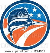 Vector Clip Art of Retro Swimming Marlin Fish in an American Flag Circle by Patrimonio