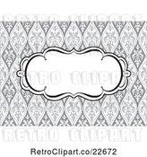 Vector Clip Art of Retro Swirl Invite Frame over a Grayscale Floral Pattern by BestVector