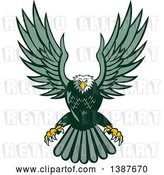 Vector Clip Art of Retro Swooping Green Bald Eagle by Patrimonio