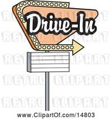 Vector Clip Art of Retro Tan Drive in Sign with an Arrow by Andy Nortnik