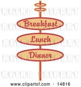 Vector Clip Art of Retro Tan Restaurant Sign Advertising Breakfast, Lunch and Dinner by Andy Nortnik