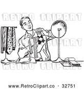 Vector Clip Art of Retro Teenage Boy Matching His Tie with His Socks in Black and White by Picsburg