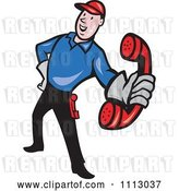 Vector Clip Art of Retro Telephone Repair Guy Holding out a Red Receiver by Patrimonio