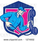 Vector Clip Art of Retro Telephone Repair Guy Holding out a Red Receiver in a Blue White and Pink Shield by Patrimonio
