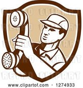 Vector Clip Art of Retro Telephone Repair Guy Holding out a Red Receiver in a Brown and White Shield by Patrimonio