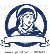 Vector Clip Art of Retro the Blessed Virgin Mary in a Blue and White Circle, with a Ribbon Banner by Patrimonio
