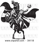 Vector Clip Art of Retro the Headless Horseman on a Rearing Horse, Holding up a Jack O Lantern As His Cape Blows in the Wind by Lawrence Christmas Illustration
