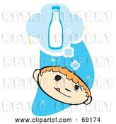 Vector Clip Art of Retro Thirsty Boy Thinking of a Bottle of Milk over a Blue Starry Sky by Xunantunich
