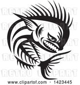 Vector Clip Art of Retro Tough Mahi Mahi Dorado Dolphin Fish Skeleton by Patrimonio