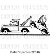 Vector Clip Art of Retro Tow Truck Driver and Guy in a Car by BestVector