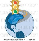 Vector Clip Art of Retro Traffic Light and Computer Mouse on a Globe Road by Patrimonio