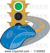 Vector Clip Art of Retro Traffic Light and Computer Mouse on a Road by Patrimonio