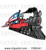 Vector Clip Art of Retro Train Driver Holding a Flag on a Steam Locomotive by Patrimonio