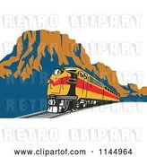 Vector Clip Art of Retro Train in a Canyon by Patrimonio