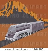 Vector Clip Art of Retro Train in a Desert by Patrimonio