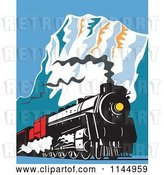 Vector Clip Art of Retro Train in the Mountains 2 by Patrimonio