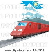 Vector Clip Art of Retro Train in the Mountains 3 by Patrimonio