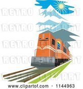 Vector Clip Art of Retro Train in the Mountains by Patrimonio