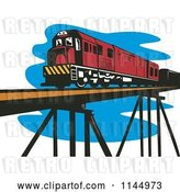 Vector Clip Art of Retro Train on a Bridge by Patrimonio