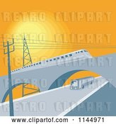 Vector Clip Art of Retro Train on a Viaduct over a Bus by Patrimonio