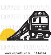Vector Clip Art of Retro Train over a Yellow Circle by Patrimonio