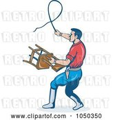 Vector Clip Art of Retro Trainer with a Whip and Chair by Patrimonio