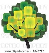 Vector Clip Art of Retro Tree with a Canopy Made of Green and Yellow Squares by ColorMagic