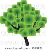 Vector Clip Art of Retro Tree with a Canopy Made of Green Squares by ColorMagic
