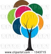 Vector Clip Art of Retro Tree with a Canopy of Colorful Circles by ColorMagic