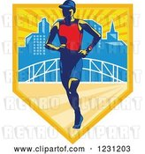 Vector Clip Art of Retro Triathlete Marathon Runner over a Skyline and Bridge in a Shield by Patrimonio