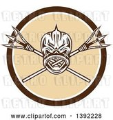 Vector Clip Art of Retro Tribal Skull of Dorado Dolphin Fish Mahi-mahi over Crossed Primitive Spears in a Brown White and Beige Circle by Patrimonio