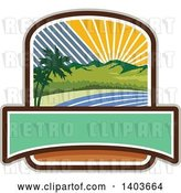 Vector Clip Art of Retro Tropical Landscape with Palm Trees, Mountains and the Coast at Sunset or Sunrise Crest Design by Patrimonio