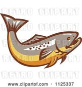 Vector Clip Art of Retro Trout Fish by Patrimonio