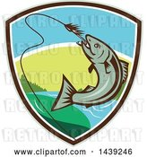 Vector Clip Art of Retro Trout Fish Jumping to Bite a Hook in a Shield by Patrimonio