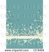 Vector Clip Art of Retro Turquoise and Tan Floral Grunge Background with Butterflies Foliage by KJ Pargeter