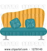 Vector Clip Art of Retro Turquoise and Yellow Striped Couch by BNP Design Studio