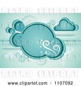 Vector Clip Art of Retro Turquoise Cloud with Vines Sparkles and Circles by Amanda Kate