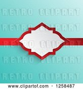 Vector Clip Art of Retro Turquoise Polda Dot Background with a White and Red Ribbon Frame by KJ Pargeter