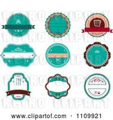 Vector Clip Art of Retro Turquoise Restaurant Labels by Vector Tradition SM