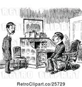 Vector Clip Art of Retro Two Men Talking by a Desk by Prawny Vintage
