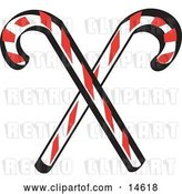 Vector Clip Art of Retro Two Red and White Candy Canes by Andy Nortnik