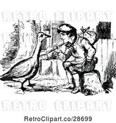 Vector Clip Art of Retro Vagrant Boy and Goose by Prawny Vintage