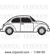 Vector Clip Art of Retro Vw Beetle Car with Tinted Windows by Lal Perera