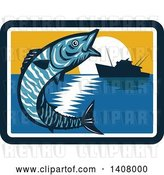Vector Clip Art of Retro Wahoo Scombrid Fish Jumping near a Silhouetted Fishing Boat at Sunset by Patrimonio