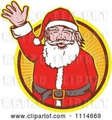 Vector Clip Art of Retro Waving Santa in an Orange Ray Circle by Patrimonio