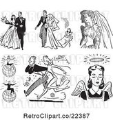 Vector Clip Art of Retro Wedding Couples Successful People and Angel by BestVector