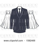 Vector Clip Art of Retro Wedding Gown and Tuxedo Design by Vector Tradition SM