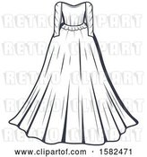 Vector Clip Art of Retro Wedding Gown Design by Vector Tradition SM
