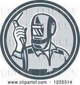Vector Clip Art of Retro Welder Worker in a Gray Circle by Patrimonio