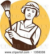 Vector Clip Art of Retro White and Brown Female Maid House Keeper Holding a Duster in a Yellow Circle by Patrimonio